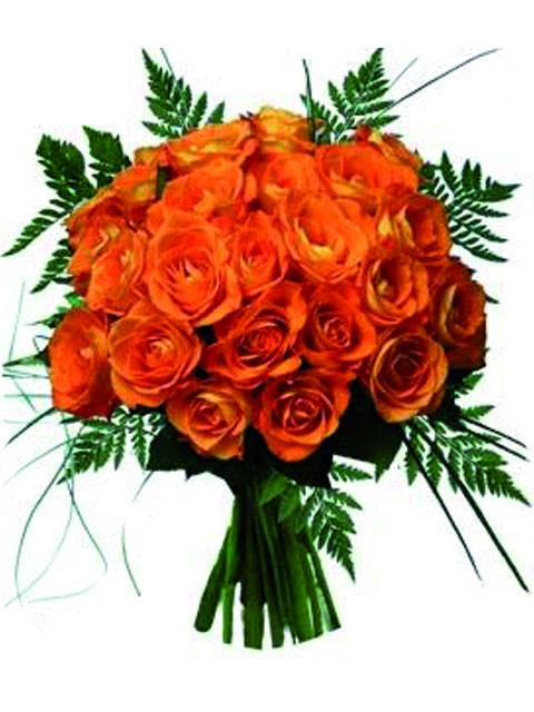 mazzo di 24 rose arancio