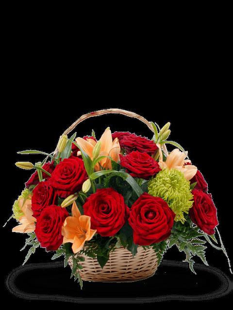 cesto-di-rose-rosse-e-lilium