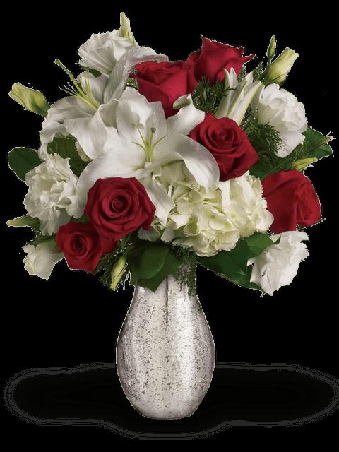 rose rosse e lisianthus