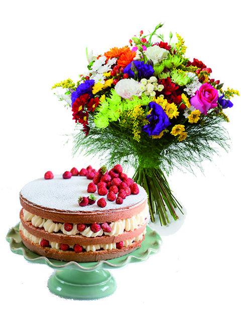 Bouquet-fiori con-torta