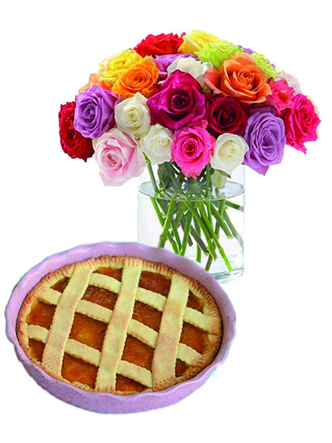 Bouquet di rose con crostata