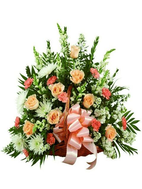 cesto funebre di fiori arancio
