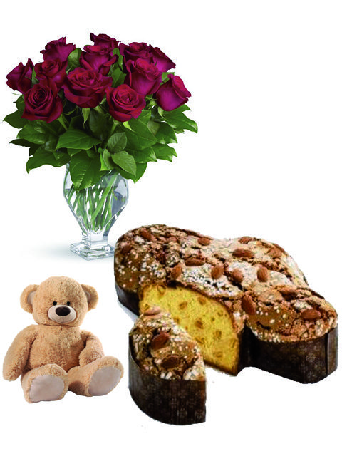 12 rose con colomba e peluche
