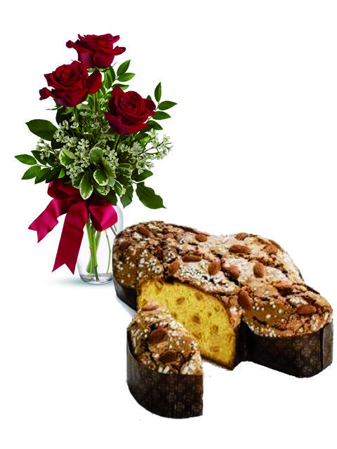 Colomba e tre rose rosse