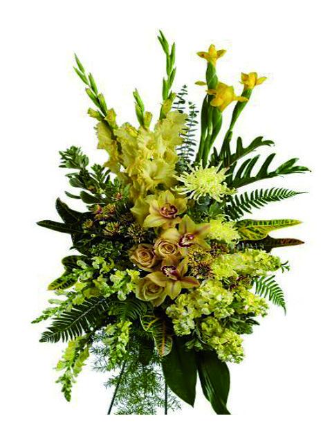 cuscino funebre di orchidee e fiori misti gialli