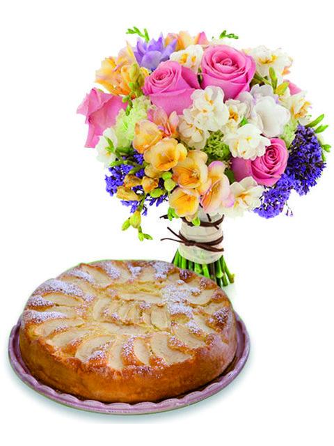 Bouquet con torta alle mele