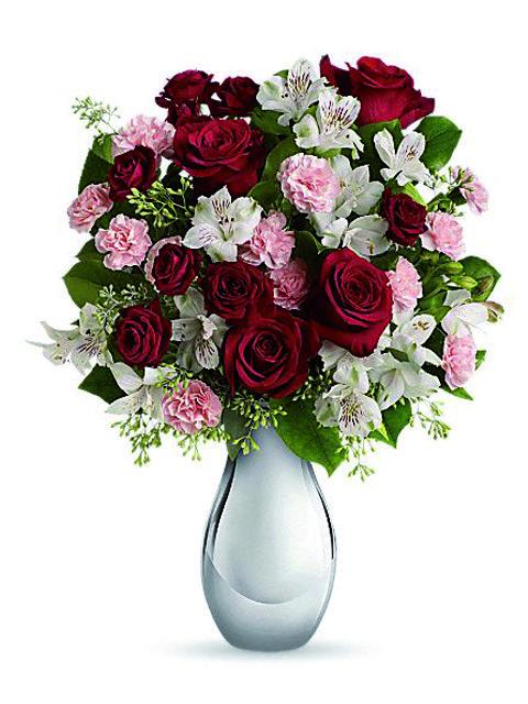 bouquet di rose gigli e alstroemerie