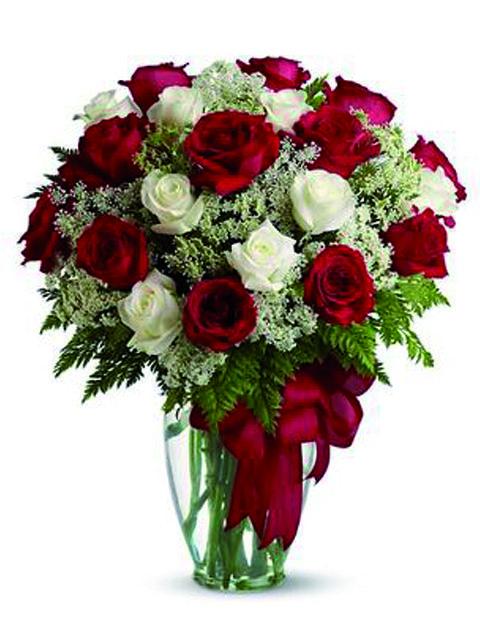 rose rosse e bianche a domicilio