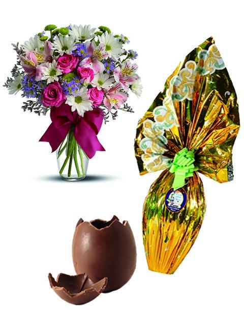 Uovo con bouquet di fiori