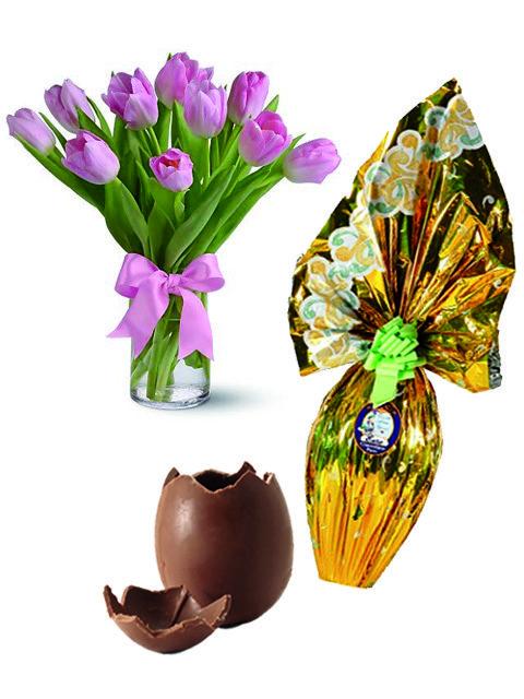 uovo di pasqua e tulipani