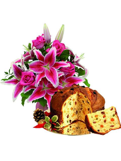 Mazzo di rose rosa e lilium con panettone