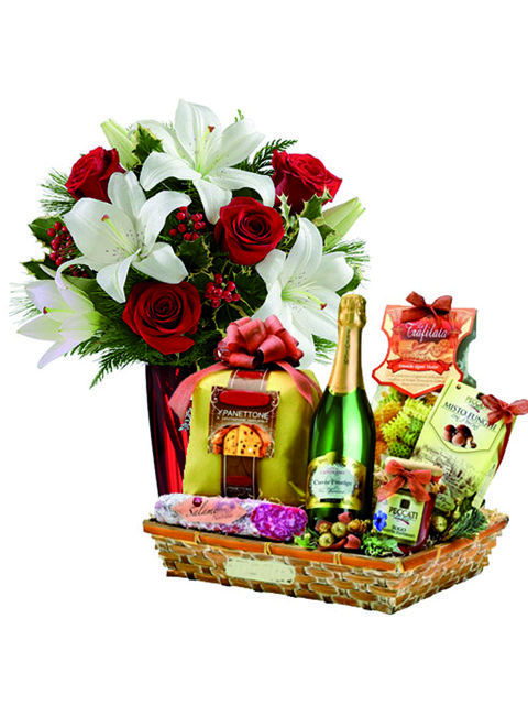 Bouquet di lilium rose rosse e cesto