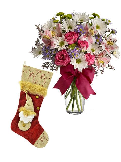 calza befana con bouquet fiori misti