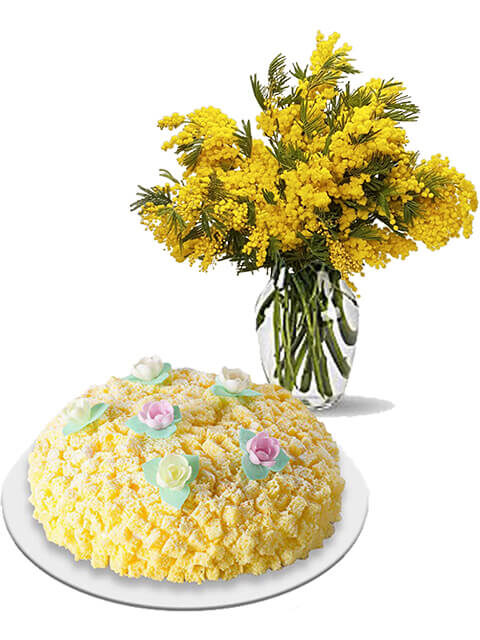 fascio di mimosa con torta mimosa